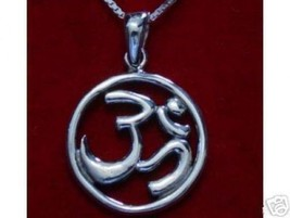 Hindu Om Sterling Silver Pendant Charm Jewelry Detailed - $30.63
