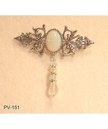 Silver Plated Brooch W/Opal Center and Swarovsk... - $25.74