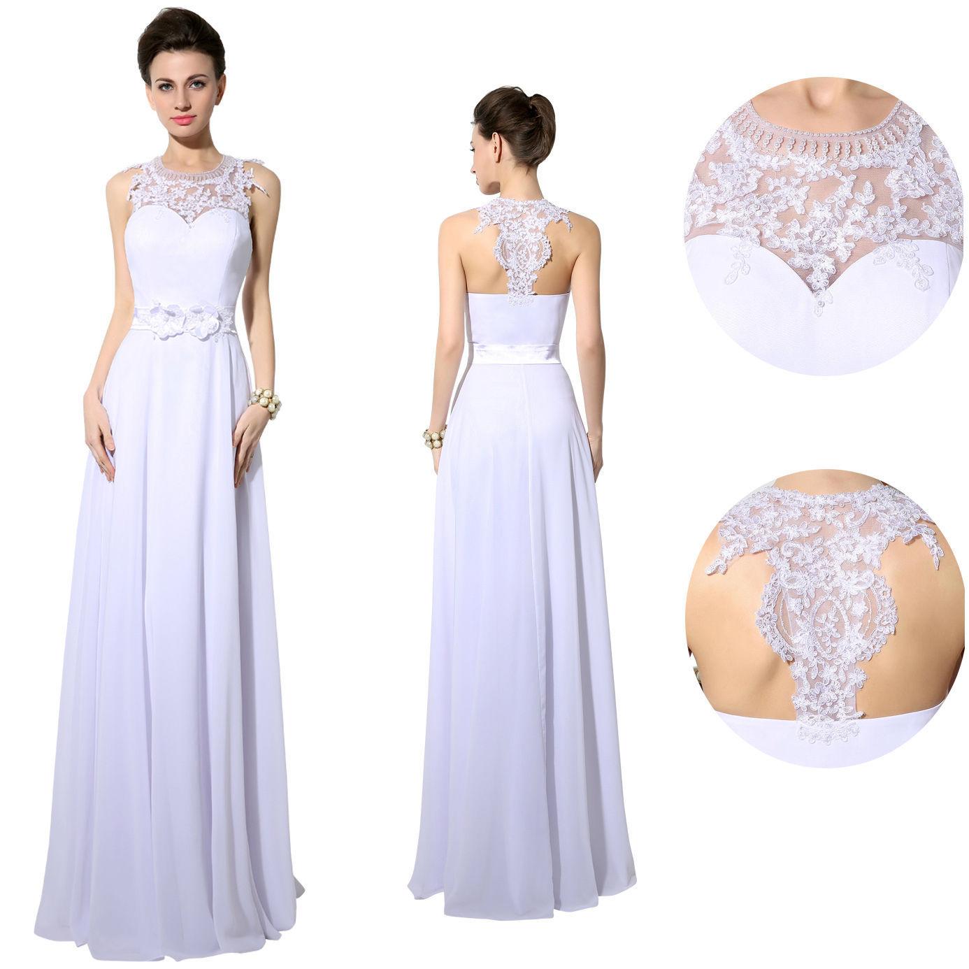White Maxi Chiffon Lace Long Formal Prom Dress Beach