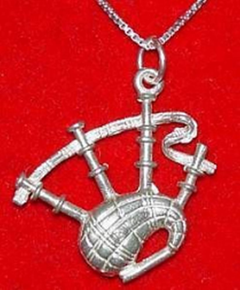 Primary image for LOOK Sterling Silver BAGPIPE Pendant Charm BAGPIPER Jewelry