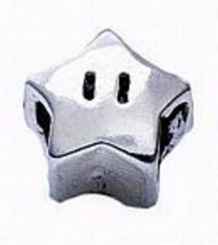 LOOK Super Mario Star power Sterling silver 925 jewelry bead - $26.45