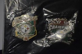 Pittsburgh Steelers 2004 North Division & 1995 AFC Conf. Champs Lapel Pins NIP - $24.75