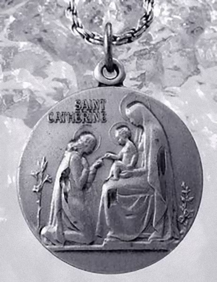 St. Saint Catherine Sterling Silver Charm Medal ADORING Infant Jesus Virgin mary