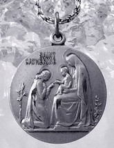 St. Saint Catherine Sterling Silver Charm Medal ADORING Infant Jesus Virgin mary - $26.81