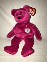 "TY Beanie Baby VALENTINA Red Bear White Heart Plush MWMT Date Error 8"" 9... - $14.84"