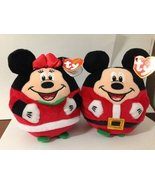 """NEW 2013 Ty Beanie Ballz Mickey Mouse & Minnie Mouse Christmas 5.5"""" inch... - $16.95"""