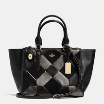 Handbag Coach Black Crosby Carryall Patchwork Leather Zip Top Tote & Sho... - $649.87