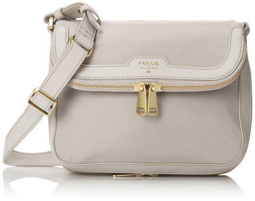 Handbag Fossil Preston Nylon Flap Cross Body Bag/Shoulder Grey Black Zip Closure