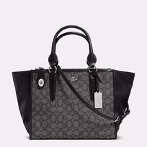 Handbag Coach Black Smoke Crosby Carryall Signature Jacquard Zip Tote & ... - $482.54