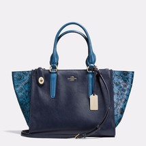Handbag Coach Navy Crosby Carryall In Colorblock Exotic Embossed Leather... - $602.33