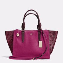 Handbag Coach Cyclamen Crosby Carryall In Colorblock Exotic Embossed Lea... - $602.33