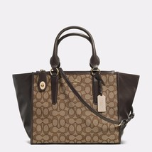 Handbag Coach Brown/Khaki Crosby Carryall Signature Jacquard Zip Tote & ... - $482.54