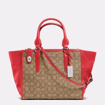 HandbagCoach Khaki/True Red Crosby Carryall Signature Jacquard ZipTote &... - $482.54