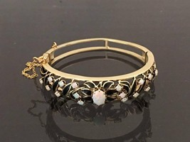 Vintage 14K Solid YG 2.17ct Fire Opal Black Enamel Flower Bangle Bracele... - $1,390.00