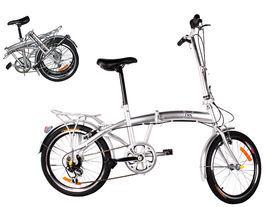 "20"" Silver Folding Bike 6 Speed Bike Fold Bicycle Storage College School... - $225.00"