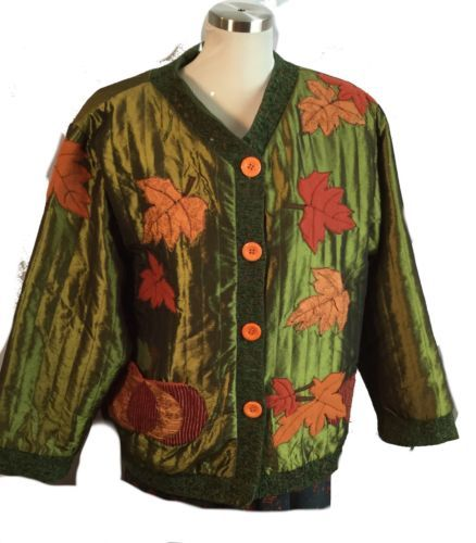 Primary image for Festive Autumn Thanksgiving Pumpkin Applique Patch Jacket Green Orange L / XL