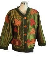 Festive Autumn Thanksgiving Pumpkin Applique Patch Jacket Green Orange L... - $29.21