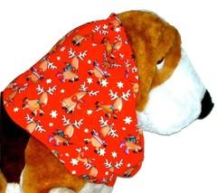 Dog Snood Christmas Reindeer Red Cotton Basset Hound Afghan Springer Spaniel Lrg - $12.50