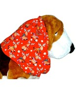 Dog Snood Christmas Reindeer Red Cotton Basset Hound Afghan Springer Spa... - $12.50
