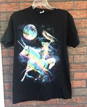 Cats & Unicorn Space Rainbow T-Shirt Medium Galaxy Black Colorful Unisex Top - $11.88