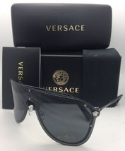 New VERSACE Sunglasses VE 2180 1000/87 125 Silver & Black Shield Frames w/ Grey