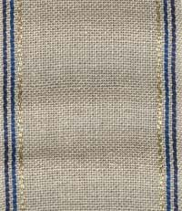 "Primary image for 27ct Taylor Natural/Blue Gold Stripes banding 2.9""w x 36"" 100% linen Mill Hill"