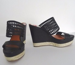 New Via Spiga  Womens Leather Slides Wedge Shoes Size 8.5 M 39.5 EUR Bla... - $77.17