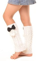 ICONOFLASH Girl's Cable Knit Leg Warmers with Bow and Pom-Pom Detail, White - $9.89