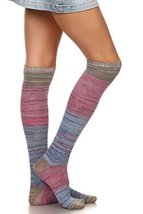 ICONOFLASH Women's Cold Weather Multi Striped Over The Knee Boot Socks, Blue - $18.80