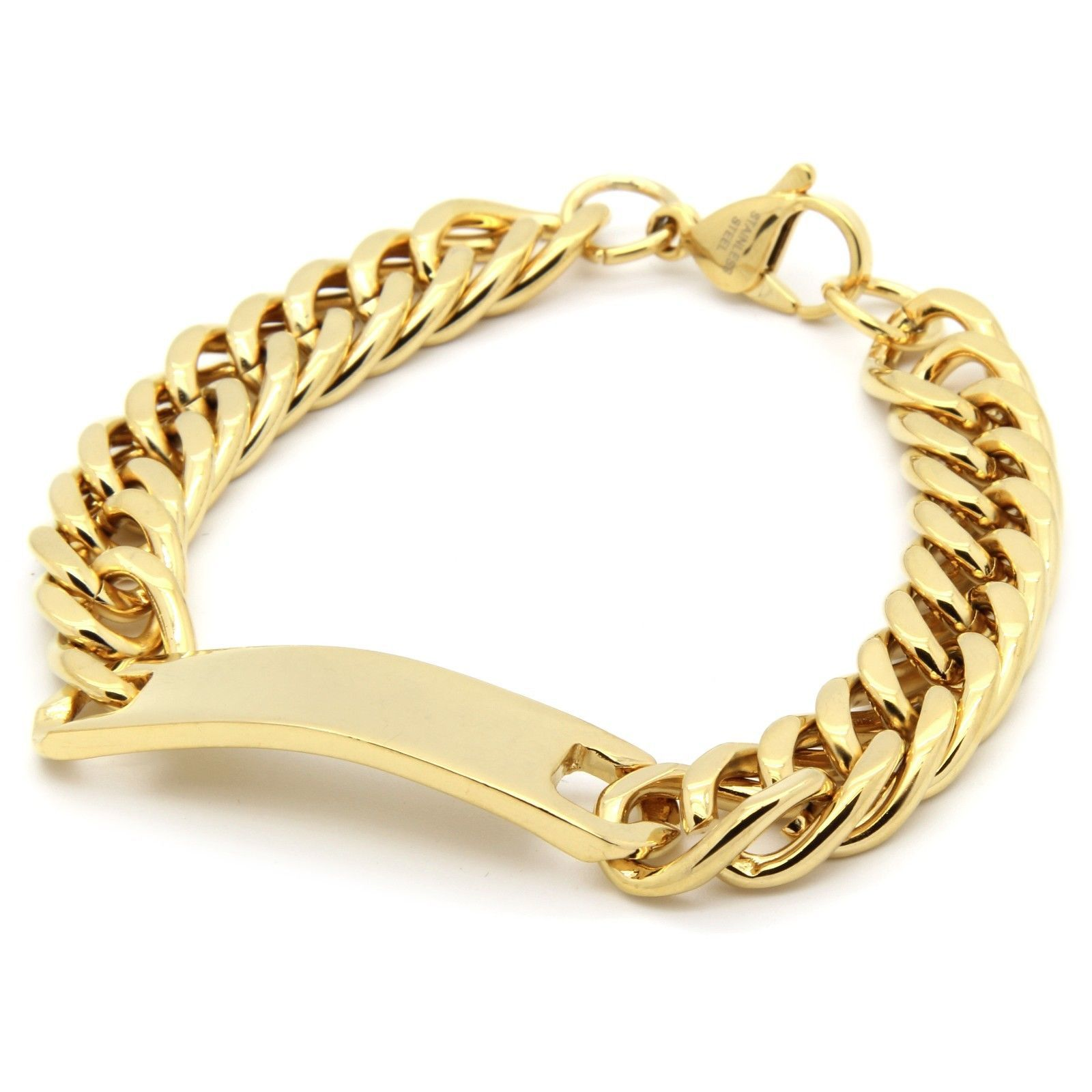 Gold Wrist Bracelet: Mens Gold Plated 12mm Stainless Steel Cuban ID Tag Link