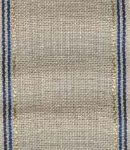 "27ct Taylor Natural/Blue Gold Stripes banding 2.9""w x 18"" 100% linen Mill Hill - $5.20"