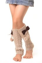 ICONOFLASH Girl's Cable Knit Leg Warmers with Bow and Pom-Pom Detail, Beige - $9.89