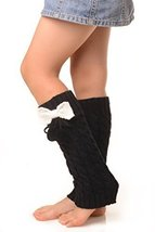 ICONOFLASH Girl's Cable Knit Leg Warmers with Bow and Pom-Pom Detail, Black - $9.89