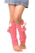ICONOFLASH Girl's Cable Knit Leg Warmers with Bow and Pom-Pom Detail, Fuchsia - $9.89