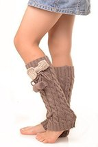 ICONOFLASH Girl's Cable Knit Leg Warmers with Bow and Pom-Pom Detail, Khaki - $9.89