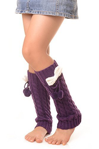 ICONOFLASH Girl's Cable Knit Leg Warmers with Bow and Pom-Pom Detail, Purple - $9.89