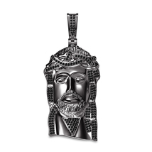 Charm Jesus Face Pendant 925 Sterling Silver 14k Black Gold Finish W/ 18 Chain - $122.99