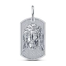 "Platinum Plated 925 Sterling Silver Simulated Diamond Jesus Pendant W/ 18"" Chain - $130.06"