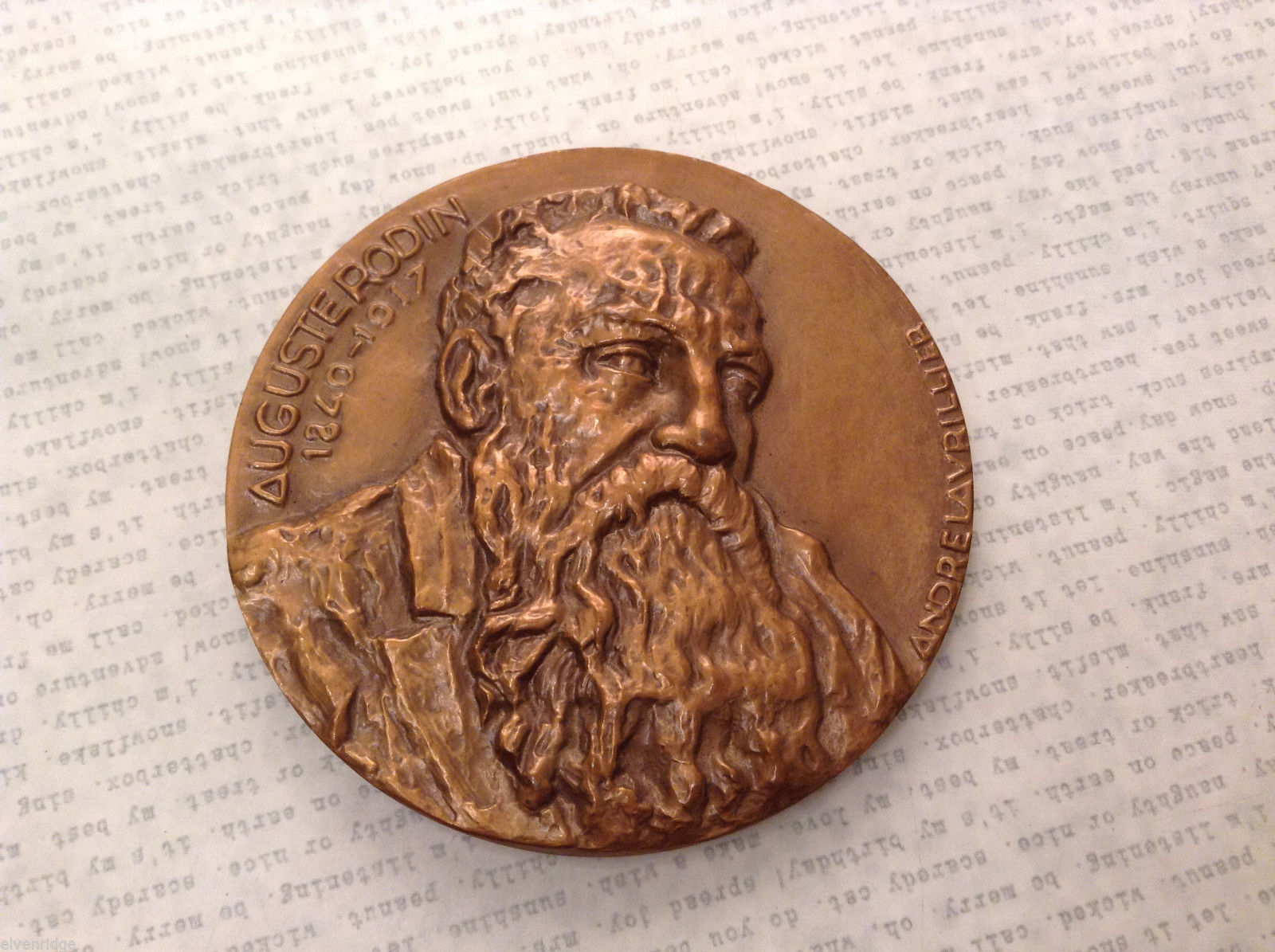 Auguste Rodin L'Ombre (The Shadow) French Commemorative Bronze Medal Coin Rare