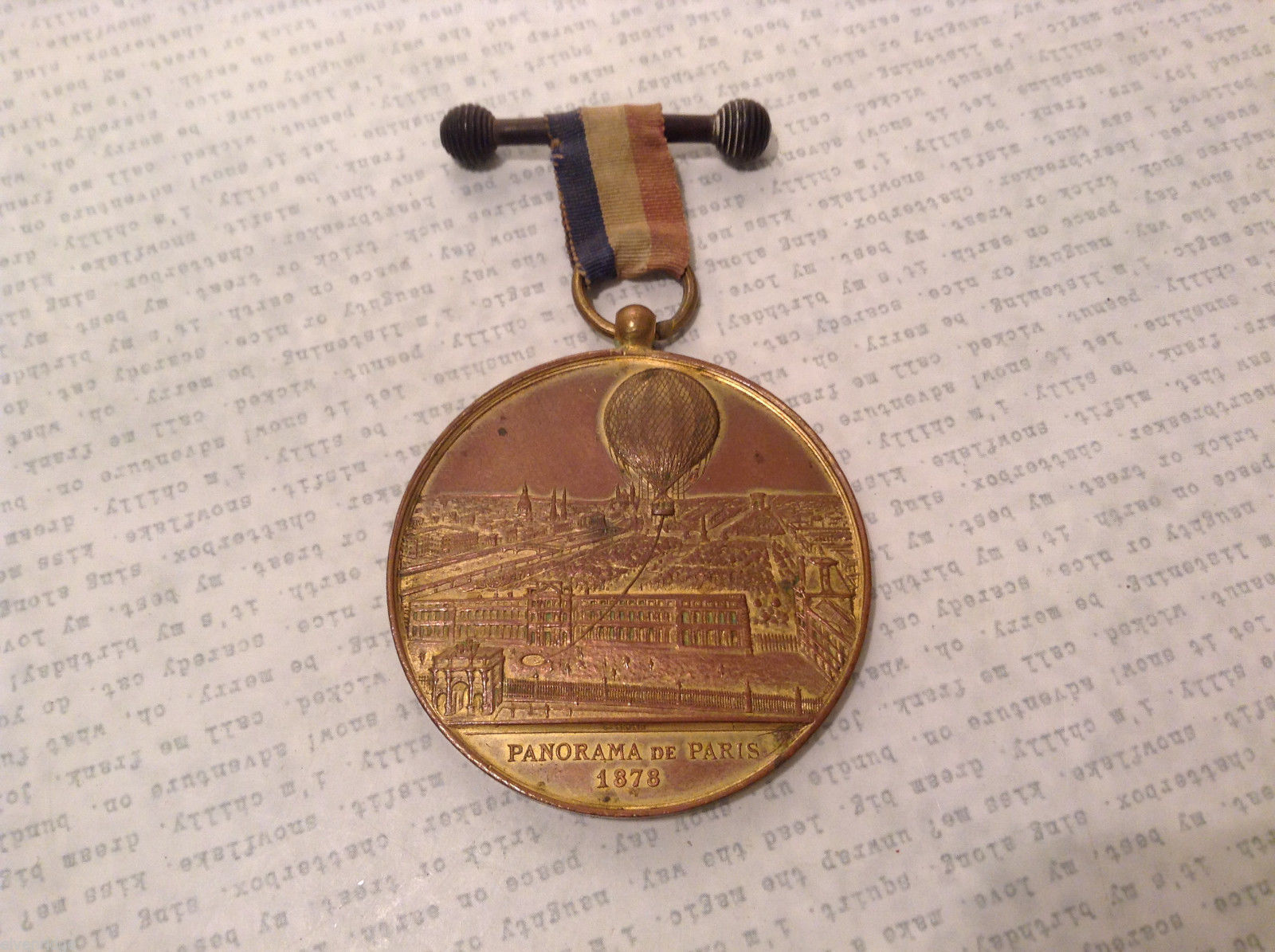 French 1878 Panorama de Paris Captiv Balloon Commemorative Medal by C.Trotin