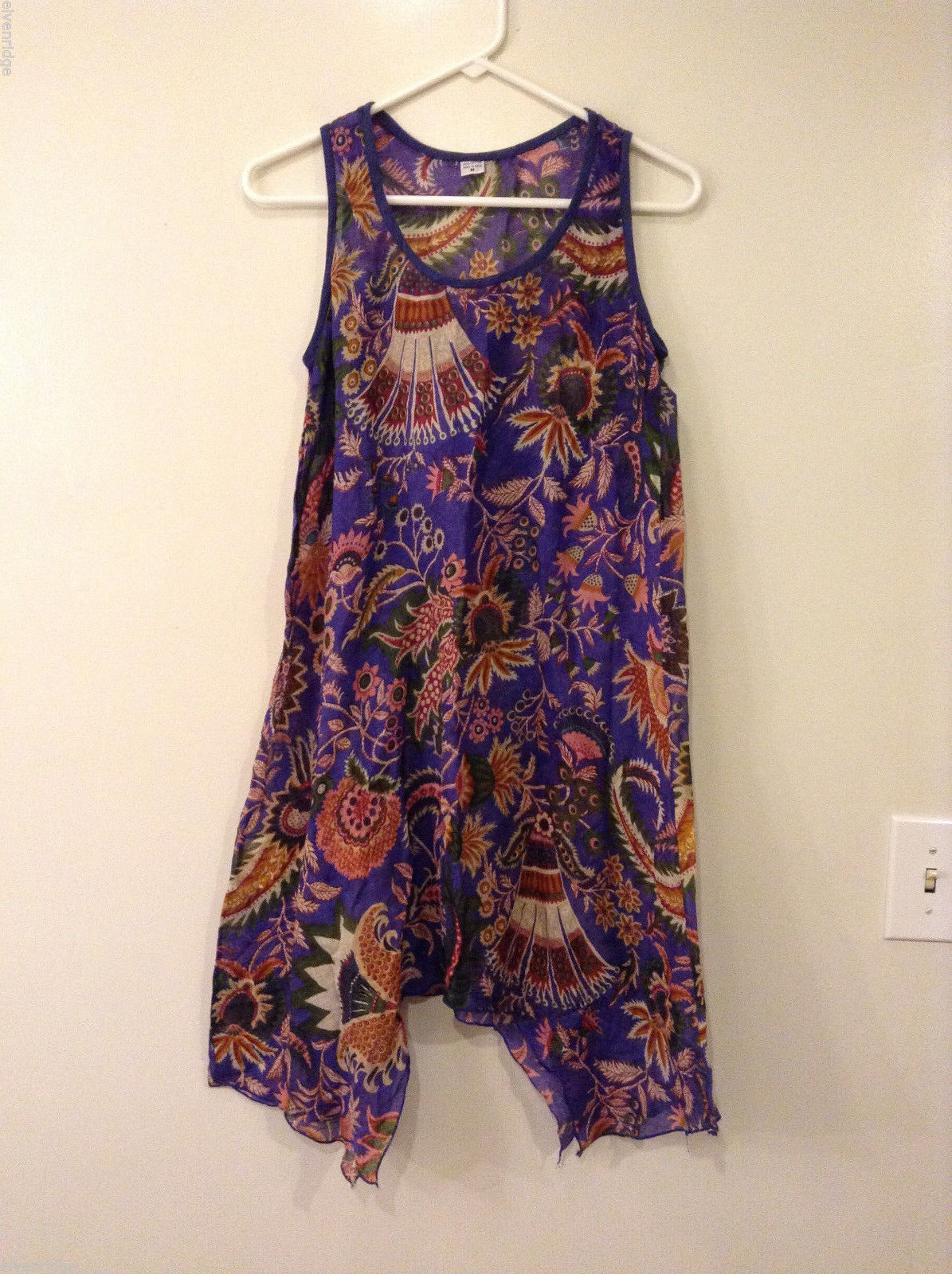 Feather Weight Sleeveless 100% Cotton Floral Summer Dress or Cover Up, size M