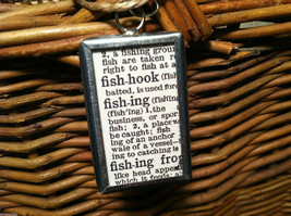 """2 sided """"Fishing"""" w/ definition charm in metal frame image 3"""