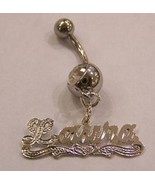 14k White gold silver overlay belly ring with name/name plate/Personalized belly - $29.99
