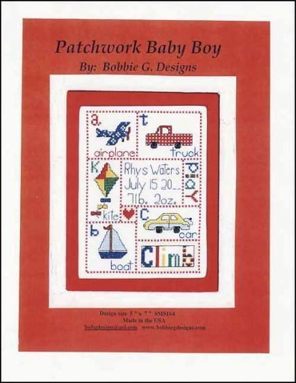Patchwork Baby Boy sampler cross stitch chart Bobbie G Designs
