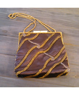 Vintage 1960's Walborg Beaded Purse Dark Brown Satin with Gold & Silver ... - $17.99