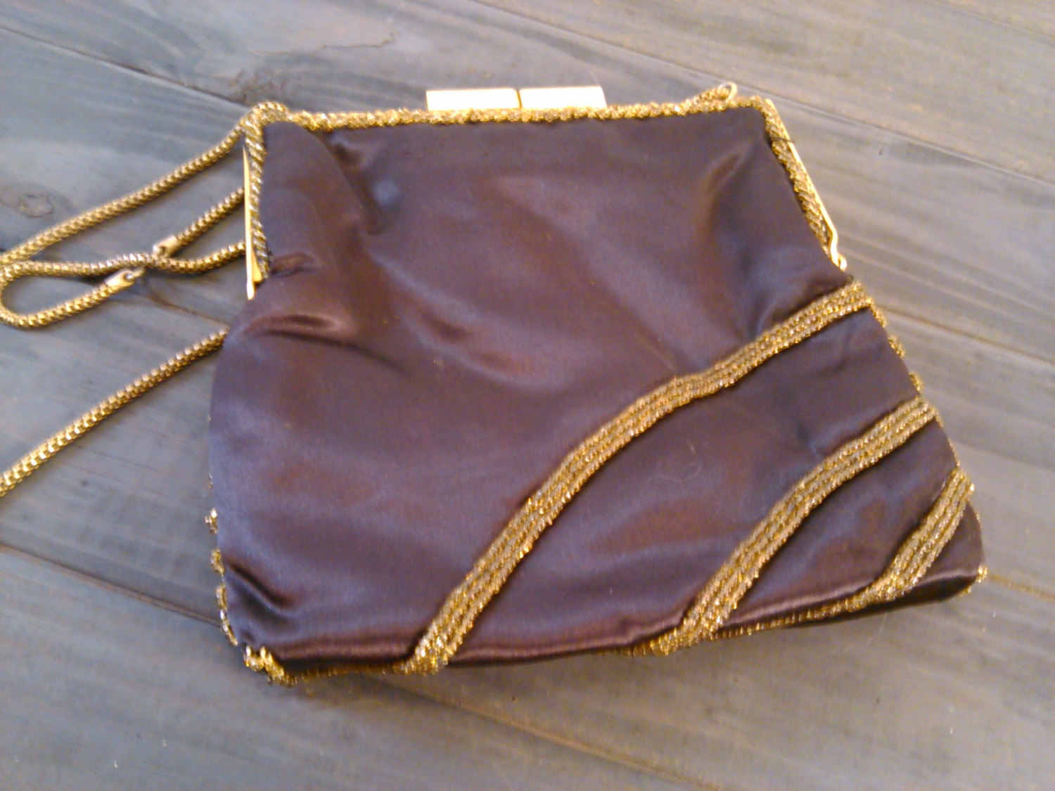 Vintage 1960's Walborg Beaded Purse Dark Brown Satin with Gold & Silver Seed Bea