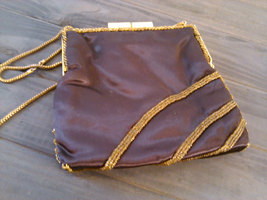 Vintage 1960's Walborg Beaded Purse Dark Brown Satin with Gold & Silver Seed Bea image 2