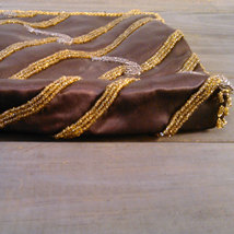 Vintage 1960's Walborg Beaded Purse Dark Brown Satin with Gold & Silver Seed Bea image 4