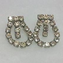Vintage Clear Rhinestone Screw-back Loop Earrings image 1