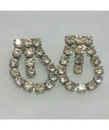 Vintage Clear Rhinestone Screw-back Loop Earrings - $7.99